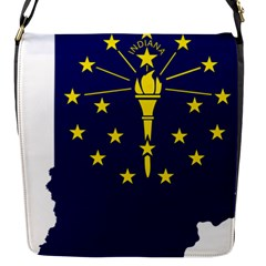 Flag Map Of Indiana Flap Closure Messenger Bag (s)