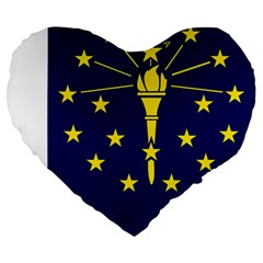 Flag Map Of Indiana Large 19  Premium Flano Heart Shape Cushions by abbeyz71