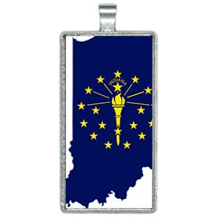 Flag Map Of Indiana Rectangle Necklace