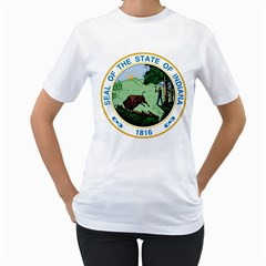 Great Seal Of Indiana Women s T Shirt (white) (two Sided)