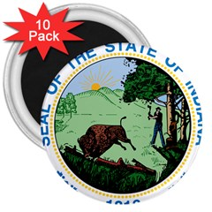 Great Seal Of Indiana 3  Magnets (10 Pack)