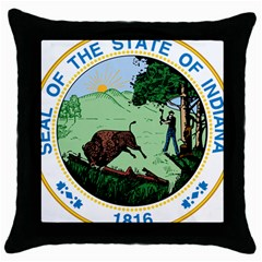 Great Seal Of Indiana Throw Pillow Case (black)