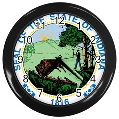 Great Seal Of Indiana Wall Clock (black)