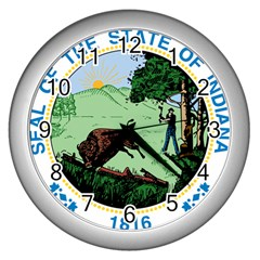 Great Seal Of Indiana Wall Clock (silver)
