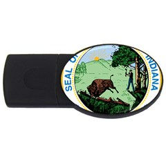 Great Seal Of Indiana Usb Flash Drive Oval (2 Gb)