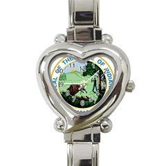 Great Seal Of Indiana Heart Italian Charm Watch