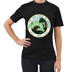 Great Seal Of Indiana Women s T Shirt (black) (two Sided)