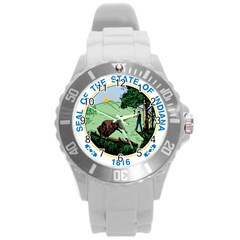 Great Seal Of Indiana Round Plastic Sport Watch (l) by abbeyz71