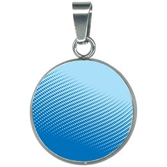 Blue Dot Pattern 20mm Round Necklace by Jojostore