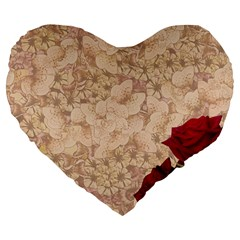 Retro Background Scrapbooking Paper Large 19  Premium Flano Heart Shape Cushions