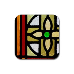A Detail Of A Stained Glass Window Rubber Square Coaster (4 Pack)  by Jojostore