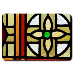 A Detail Of A Stained Glass Window Large Doormat  by Jojostore
