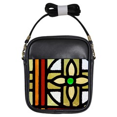 A Detail Of A Stained Glass Window Girls Sling Bag