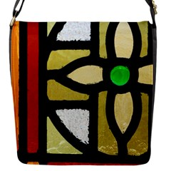 A Detail Of A Stained Glass Window Flap Closure Messenger Bag (s)