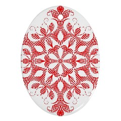 Red Pattern Filigree Snowflake On White Ornament (oval) by Jojostore