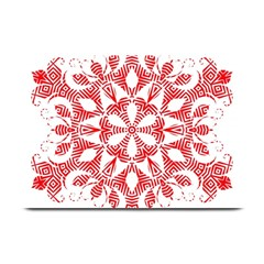 Red Pattern Filigree Snowflake On White Plate Mats