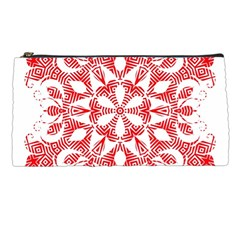 Red Pattern Filigree Snowflake On White Pencil Cases by Jojostore