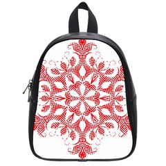 Red Pattern Filigree Snowflake On White School Bag (small) by Jojostore