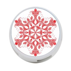 Red Pattern Filigree Snowflake On White 4 Port Usb Hub (one Side) by Jojostore