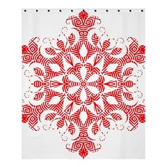 Red Pattern Filigree Snowflake On White Shower Curtain 60  X 72  (medium)