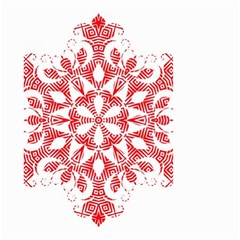 Red Pattern Filigree Snowflake On White Small Garden Flag (two Sides) by Jojostore