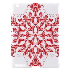 Red Pattern Filigree Snowflake On White Apple Ipad 3/4 Hardshell Case (compatible With Smart Cover) by Jojostore