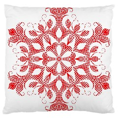 Red Pattern Filigree Snowflake On White Large Cushion Case (one Side) by Jojostore