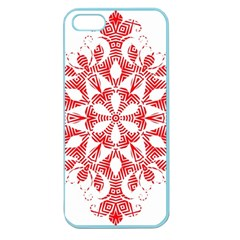 Red Pattern Filigree Snowflake On White Apple Seamless Iphone 5 Case (color) by Jojostore