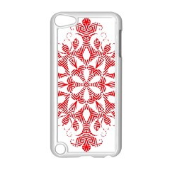 Red Pattern Filigree Snowflake On White Apple Ipod Touch 5 Case (white)