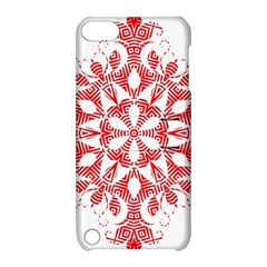 Red Pattern Filigree Snowflake On White Apple Ipod Touch 5 Hardshell Case With Stand by Jojostore