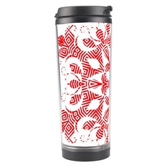 Red Pattern Filigree Snowflake On White Travel Tumbler by Jojostore