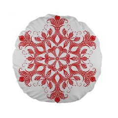 Red Pattern Filigree Snowflake On White Standard 15  Premium Flano Round Cushions by Jojostore