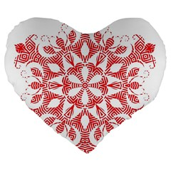 Red Pattern Filigree Snowflake On White Large 19  Premium Flano Heart Shape Cushions