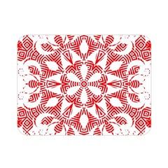 Red Pattern Filigree Snowflake On White Double Sided Flano Blanket (mini)  by Jojostore