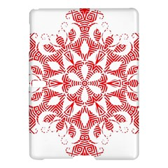 Red Pattern Filigree Snowflake On White Samsung Galaxy Tab S (10 5 ) Hardshell Case  by Jojostore
