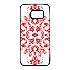 Red Pattern Filigree Snowflake On White Samsung Galaxy S7 Black Seamless Case by Jojostore
