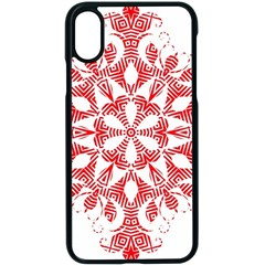Red Pattern Filigree Snowflake On White Apple Iphone X Seamless Case (black) by Jojostore