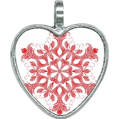 Red Pattern Filigree Snowflake On White Heart Necklace by Jojostore