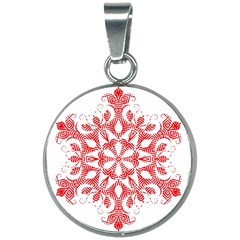Red Pattern Filigree Snowflake On White 20mm Round Necklace by Jojostore