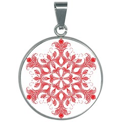 Red Pattern Filigree Snowflake On White 30mm Round Necklace