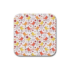 Animal Pattern Happy Birds Seamless Pattern Rubber Coaster (square)  by Jojostore