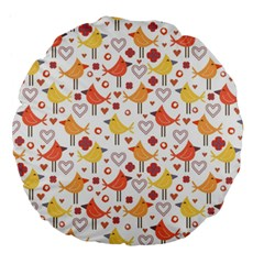 Animal Pattern Happy Birds Seamless Pattern Large 18  Premium Flano Round Cushions