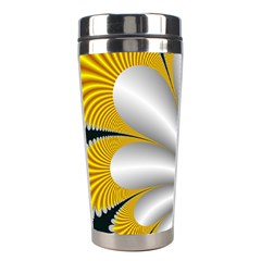 Fractal Gold Palm Tree On Black Background Stainless Steel Travel Tumblers by Jojostore
