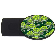 Seamless Tile Background Abstract Turtle Turtles Usb Flash Drive Oval (4 Gb) by Jojostore