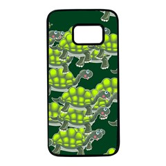 Seamless Tile Background Abstract Turtle Turtles Samsung Galaxy S7 Black Seamless Case