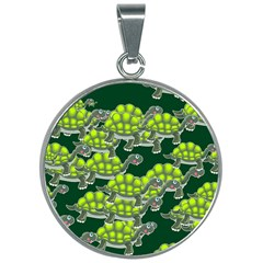 Seamless Tile Background Abstract Turtle Turtles 30mm Round Necklace
