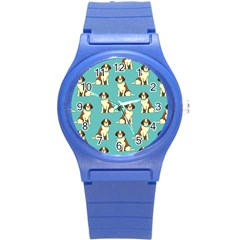 Dog Animal Pattern Round Plastic Sport Watch (s)