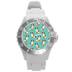 Dog Animal Pattern Round Plastic Sport Watch (l)