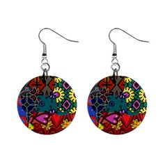 Digitally Created Abstract Patchwork Collage Pattern Mini Button Earrings by Jojostore