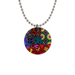 Digitally Created Abstract Patchwork Collage Pattern 1  Button Necklace